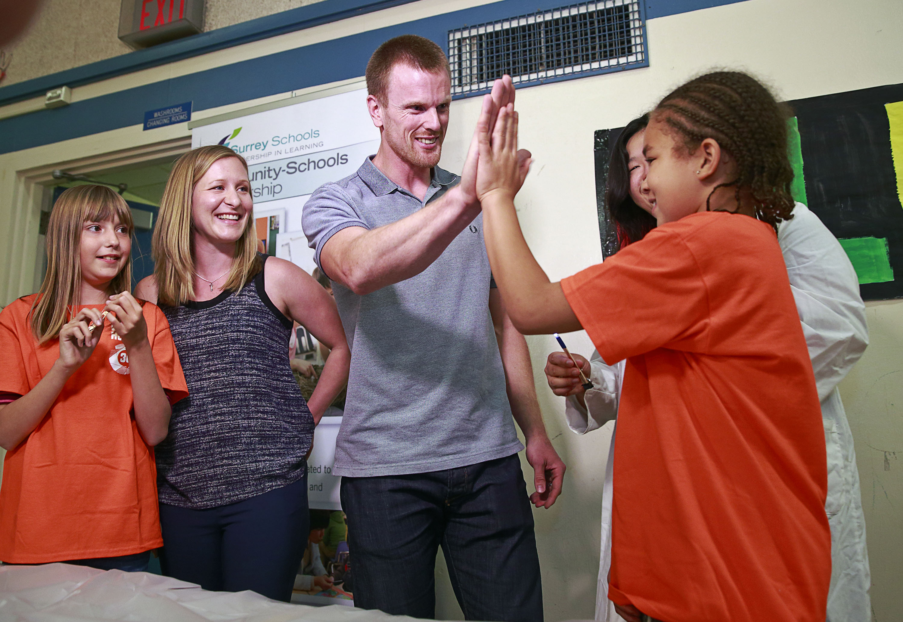 SURREY,  BC:  SEPTEMBER 14, 2015 - The Sedin families attend the Clubhouse 36 press conference in Surrey, BC, Canada September 14, 2015.  Photo by Jeff Vinnick